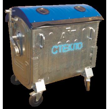 Металлический оцинкованный контейнер для раздельного сбора отходов (для сбора отходов СТЕКЛА)
