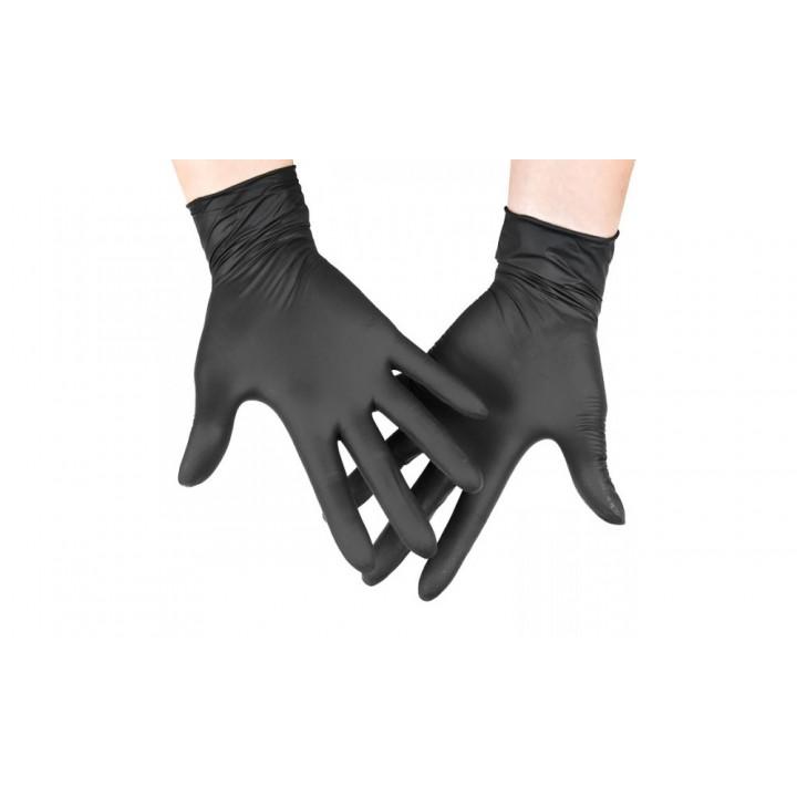 Перчатки нитриловые неопудренные, текстурированные на пальцах, черные