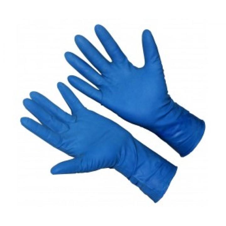Перчатки из нитрила, повышенной прочности, удлиненные, текстурированные, цвет: голубой