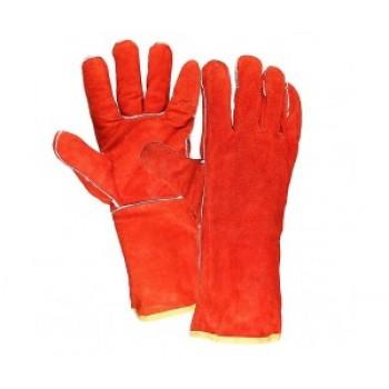 Краги сварщика спилковые пятипалые (красные)